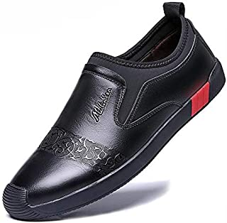 FYdgds Men's Business Casual Leather Shoes Soft Upper Embossed Slip-on Soft Bottom Breathable Loafers