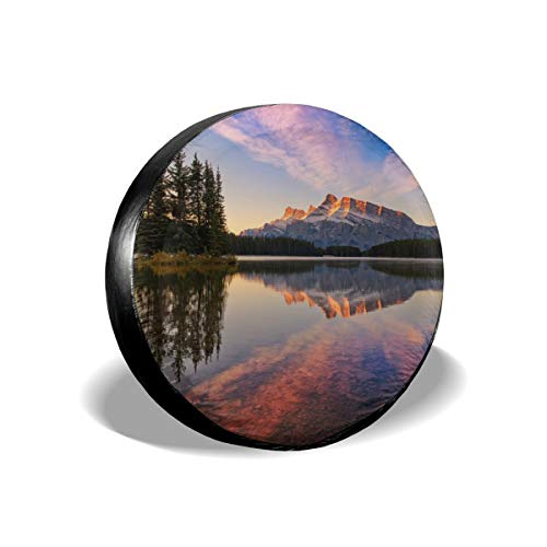 Tire Cover Banff National Park, Canada Jack Lake Forest Mountains Sky Sunset Title PVC Leather Waterproof Dustproof Universal Trailer Caravan SUV Truck Camper Travel Trailer Accessories