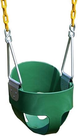 Eastern Jungle Gym - Columpio para niños con Respaldo Alto, con Cadenas de Columpio revestidas, Verde, Full Bucket
