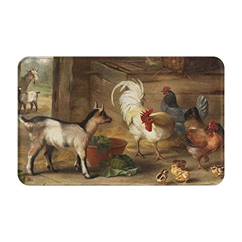 Dachangtui Alfombras de baño para decoración de Habitaciones, crías de Cabras en un Granero y Pollos, Animales de Granja, Alfombrillas duraderas y Suaves con Antideslizante
