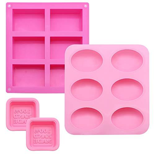 UBERMing 4 Stück Silikonform Seifenform Silikon Backform Oval und Rechteckige Ice Cube Tablett Eiswürfelform Silikon für DIY Handarbeit Kuchen Backen Biscuit Schokolade EIS-Rosa
