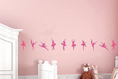 CUT IT OUT Ballerinas Dancing in a Row Wand Sticker und Kunst Aufkleber jedes (8,5cm x 18,5cm), wenn auf Wand (Höhe 108cm x Breite 23cm) dunkelgrün
