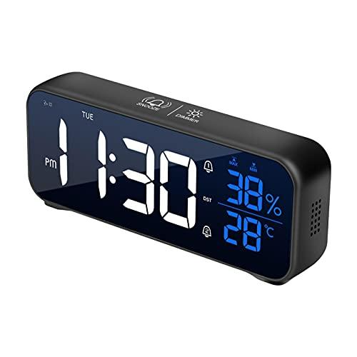 Sveglia digitale USB Sveglia da comodino Sveglia da tavolo con display dell'umidità della temperatura Doppi sveglie Snooze Time per camera da letto, dormienti pesanti