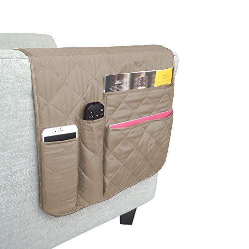 BETTERLE Organizador de bolsillo antideslizante para sofá, sillón reclinable, reposabrazos para teléfono, libro, revistas, sillón, soporte de mando a distancia, 89 x 40,6 cm (beige)