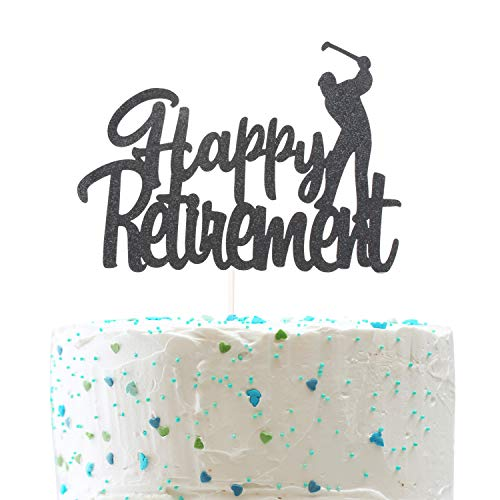 Happy Retirement Cake Topper,Farewell Sign Golf Retirement Party Decorations (Double Sided Black Glitter)