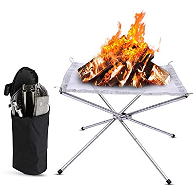 AYAMAYA Camping Fire Pit Small Mobile Fire Peter Stainless Steel Foldable Fire Bowls Lightweight Handy Fire Baskets for Camping, Outdoor, Patio, Garden and Grill, 41 x 41 x 32 cm from AYAMAYA