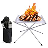 Portable Fire Pit, Outdoor 16.5 Inch Camping Folding Wood Burning Backpack Stove, Collapsing Stainless Steel Mesh Fireplace with Storage Bag Perfect for Patio Camping Barbecue Backyard Garden Picnic