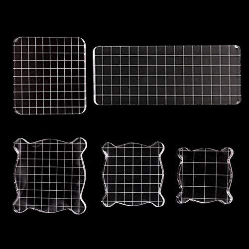 TONGXU 5PCS Bloques de Sellos Transparentes Bloques de Estampación de Acrílico con Líneas de Cuadrícula Herramientas para Manualidades Scrapbooking Tamaños Múltiples