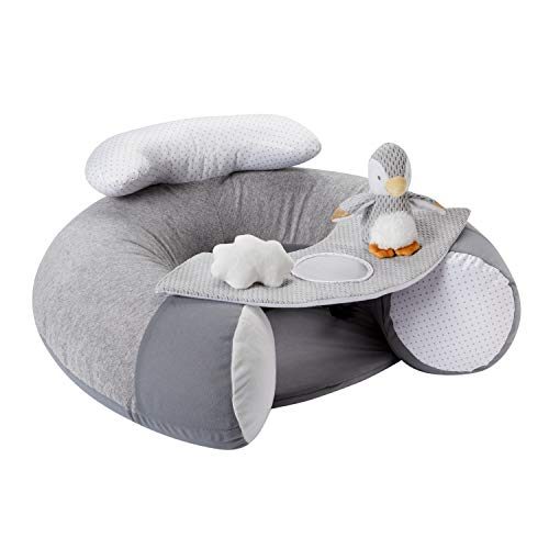 Nuby Penguin Sit-Me-Up Baby Seat. Inflatable Sit & Play Floor Seat With Tray And Baby Toys.