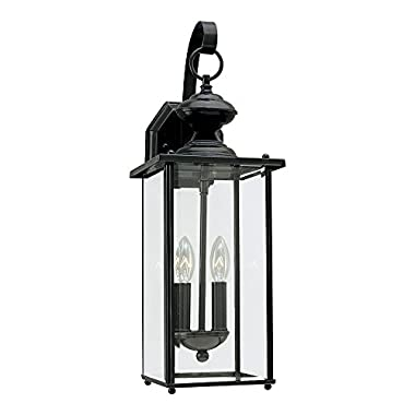 Sea Gull Lighting 8468-12 Jamestowne Two-Light Outdoor Wall Lantern with Clear Beveled Glass Panels, Black Finish