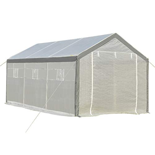 Outsunny 20' L x 10' W x 9' H Large Walk-in Greenhouse with Roll Up Door, 8 Closeable Windows, & Weather PE Cover