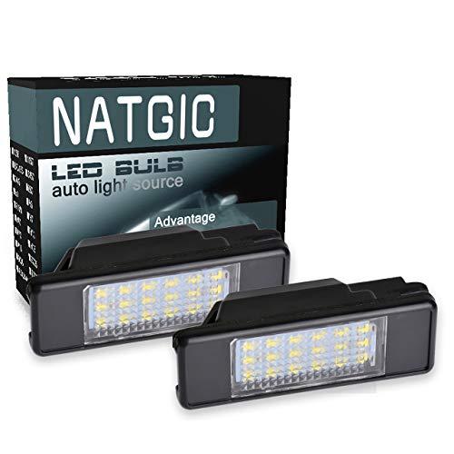 NATGIC 1 Paire 18SMD éclairage de Plaque d'immatriculation LED Intégré Can-Bus éclairage de Plaque d'immatriculation étanche Numéro de LED éclairage de Plaque d'immatriculation 12V 2W - Blanc
