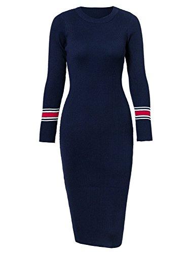Terryfy Damen Knielang Kleid Elegant Langarm Gestreift Mini Strickkleid Streetwear Pullover Blau
