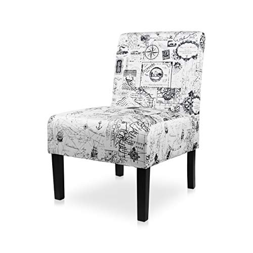 AODAILIHB Armless Accent Chair Modern Fabric Printing Leisure Chair Single Sofa Deco Living Room Bedroom Office Armless Chair (MAP 1PCS)