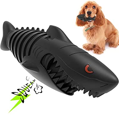 Dog Toys, Squeaky Dog Chew Toy - Tough & Durable Natural Rubber Toy and Toothbrush for Everyday Pet Dental Care & Healthy Gums - Shark
