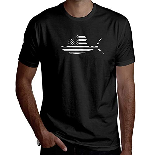 American Flag Sailfish Fish Fishing Vinyl Men Handsome Short-Sleeved T-Shirt Fashion T-Shirt T Shirt,XX-Large