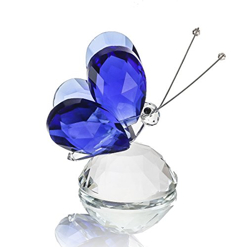 H&D Blue Crystal Flying Butterfly with Crystal Base Figurine Collection Cut Glass Ornament Statue Animal Collectible Paperweight