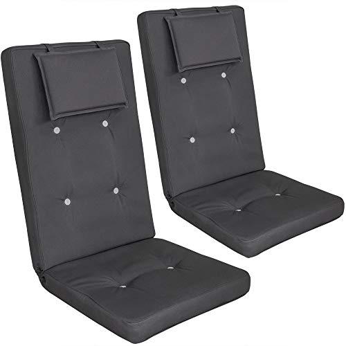 Detex Stuhlauflagen 2er Set Kopfkissen Rückhaltebänder Sitzkissen Stuhlkissen Kissen Hochlehner Auflage Sitzauflage Anthrazit