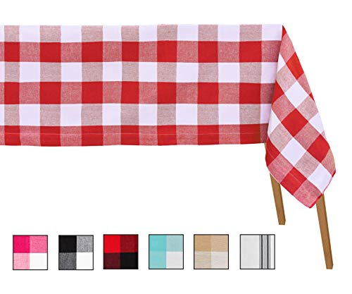 Christmas Tablecloth - Buffalo Plaid Tablecloth - Checked Tablecloth - Red Check Tablecloth - Red Cotton Tablecloth - Plaid Tablecloth Rectangle - (63 X 109, Checked (Red and White))