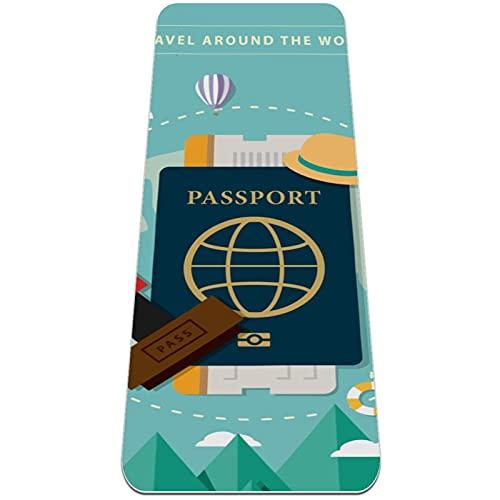 Esterilla de yoga Classic Pro para viajes alrededor del mundo con pasaporte y visa, TPE ecológica, antideslizante, con correa de transporte para yoga, pilates de 183 x 61 x 0,6 cm
