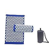 Kit de alfombra de acupresión de 66 x 42 cm con almohada portátil de 40 x 15 cm y una bolsa para masajeador/alfombra de flores - Alfombra acupresión para aliviar los problemas de espalda