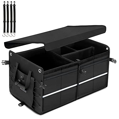 AstroAI Car Trunk Organizer Storage SUV Truck Bed Organizer for Car Seat Storage Luggage Box Cargo Organizer Collapsible for Backseat Front Seat with PE Panel +Foldable Cover +4 Securing Straps