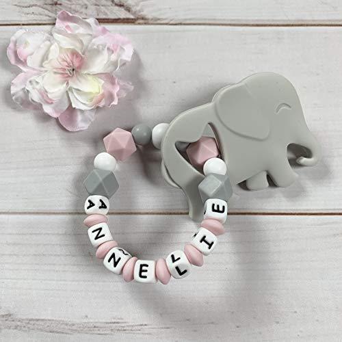 Beißring Greifring Greifling mit Namen Silikon Elefant grau rosa Mädchen
