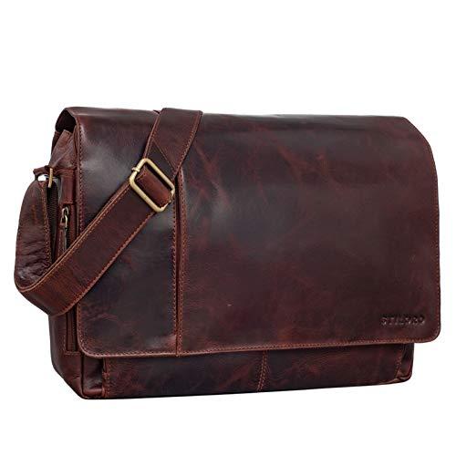 STILORD 'Elias' Bolso de Mensajero o Bandolera de Piel Vintage para Hombre y Mujer Bolsa de Hombro o maletín para portátil de 15.6'' de Cuero auténtico, Color:Marseille - marrón