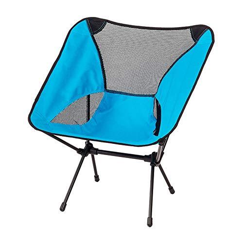 ZR Hauteur réglable de la Chaise de Camping Portable - Chaises de randonnée Pliantes ultralégères compactes dans Un Sac de Transport, capacité 100KG Robuste (Couleur : Bleu)
