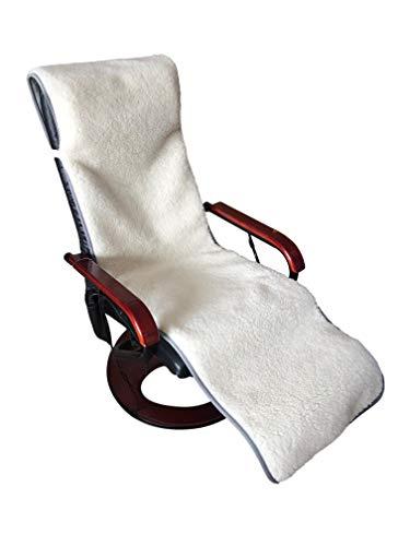 Sesselschoner Relaxsessel doppelt grau/weiß 50x200cm, 100% Merinowolle