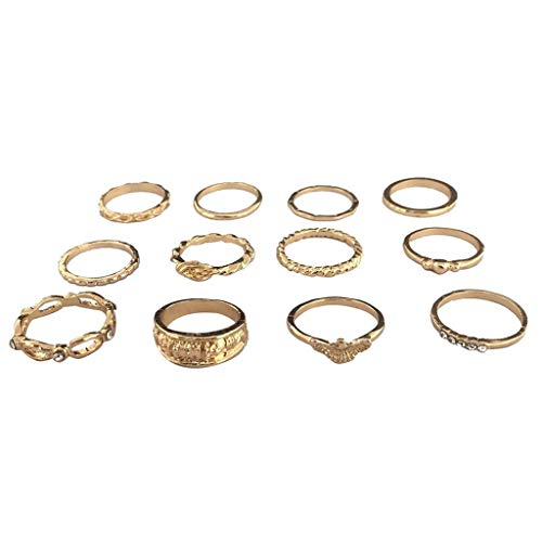 Damenring 12pcs Freundschaftsringe Modetrend Fingergelenkring Retro Geometrische Diamant Golden Love Joint Ring Schmuck Geschenk Ring-Set, E, one size