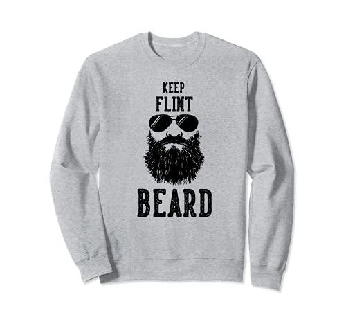 Keep Flint Michigan BEARD Funny Hipster Retro Sudadera