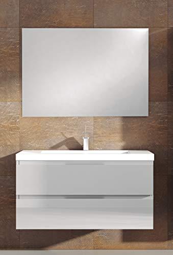 Juego de Mueble de Baño Modelo Toscana Resina, Conjunto formado por Mueble de Baño Lacado en Blanco Ancho 120cm, Lavabo de Resina y Espejo a Juego