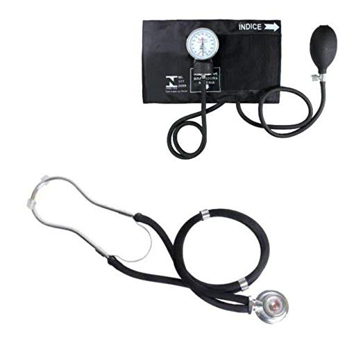 Esfigmomanômetro Fecho de Contato + Estetoscópio Duplo Premium Grafite… (preto)