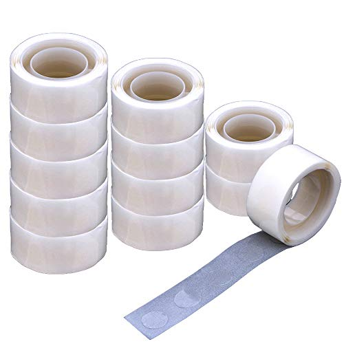 Balloon Glue 1200 PCS (12 Rolls) Double Sided Dots of Glue Craft Removable Adhesive Point Tape Non-Liquid Glue for Scrapbook,Party,Wedding,Balloons Decoration (1200 PCS)