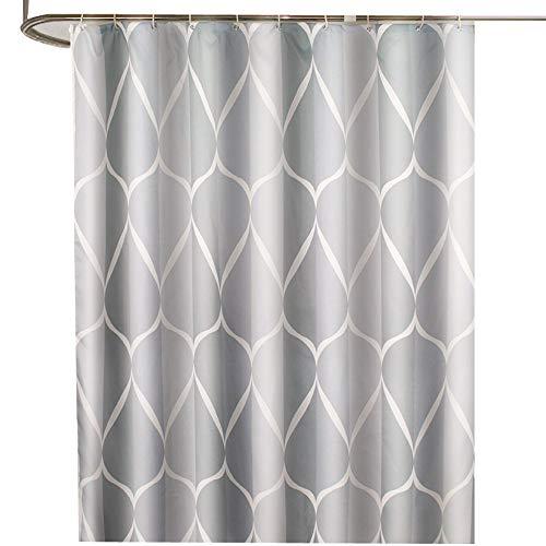 Duschvorhang aus verdicktem Polyester, wasserdicht, mit Metallknopfloch, 180 x 180 cm, Weiß / Silbergrau