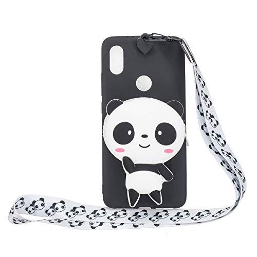 Funda Silicona para el [Xiaomi Redmi S2 ] Panda (cordón largo) de Dibujos Animados en 3D con Cordón Carcasa para Redmi S2 para Mujeres y Niños - Negro