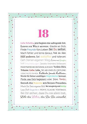 18. Geburtstag - Personalisierbares Bild - Geschenkidee zur Volljährigkeit - Geburtstagsgeschenk für Mädchen/Frauen oder Beigabe zum Geldgeschenk, Kunstdruck, DIN A4