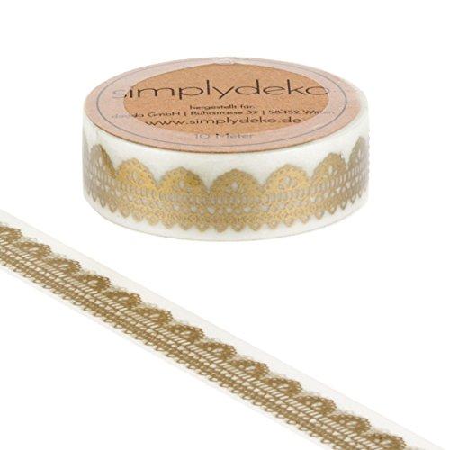 Simplydeko Washi Tape | Masking Tape Vintage & Retro | Wundervolles Washitape Bastel-Klebeband aus Reispapier | Deko-Tape | Motiv-Klebeband | Nostalgie Spitze Gold