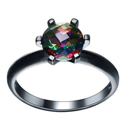 Bigood Women Fashion Gemstone Claws 18K Stainless Steel Rings Black 7