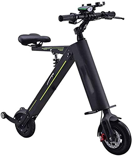 Mini Coche eléctrico Plegable Ultra Light Portátil Pequeño Scooter Hombres y Mujeres Scooter Adulto Bicicleta,Negro