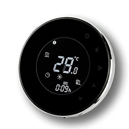 BecaSmart Series 6000 Termostato Inteligente Wi-Fi Redondo para 3A Calentamiento de Agua, Pantalla táctil LCD, de Control de programación, Soporte de Google Home(Calentamiento de Agua, Negro)