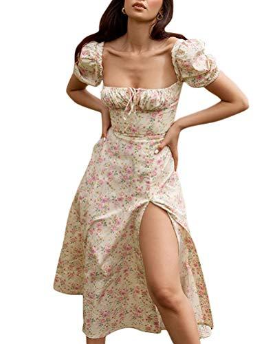 ORANDESIGNE Damen Sommerkleid Boho Kleid Lange Ärmel Strandkleid Wickel Kimono Maxikleider Cocktailkleider A Gelb S