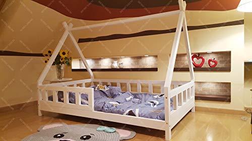 Oliveo Tipi Cama para niños, Cama Infantil, Cama de Juego, casa de niños, Tienda India, Madera, Pintado (190 x 90 cm, Madera Natural)