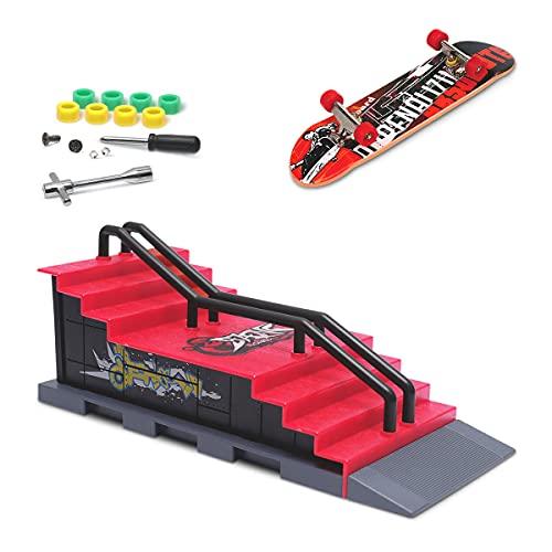 KETIEE Mini Finger Skateboard und Ramp Zubehör Set, Fingerboard Skate Park Spielzeug Ultimate Parks Trainings Requisiten (F)