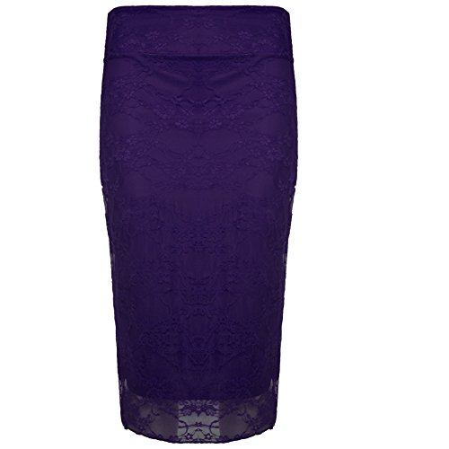 Oops Outlet Women's Floral Lace High Waist Lined Pencil Midi Skirt S/M (US 4/6) Purple