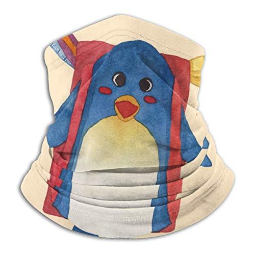 Leuke blauwe penguin met rugzak, waterverf, fleece, nek, warme hitte, trapping, zonwerende nek, tube, soft elastisch, balaclava, half masker, uniseks, windproof skihals, voor winter en skiën