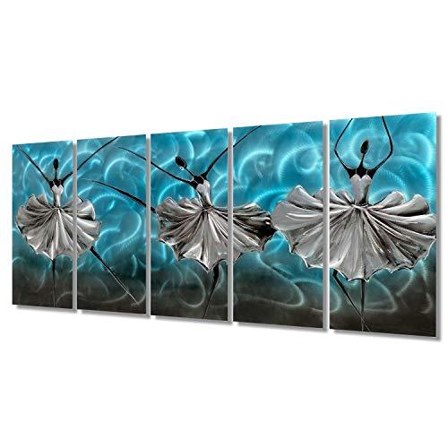 Brilliant Arts Teal Metal Art Wall Decor Black Ballerina in Silver Dress 5 Panels Turquoise African American Styles Hanging Scuplture Modern Bedroom Decor