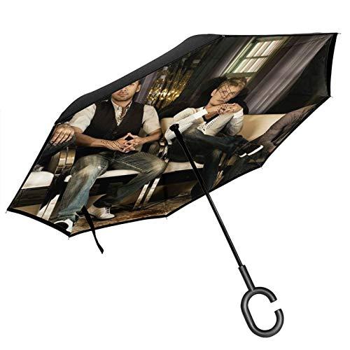 Backstreet - Paraguas invertido para niños, con diseño de coche, resistente al viento, a prueba de rayos UV, doble capa para mujer