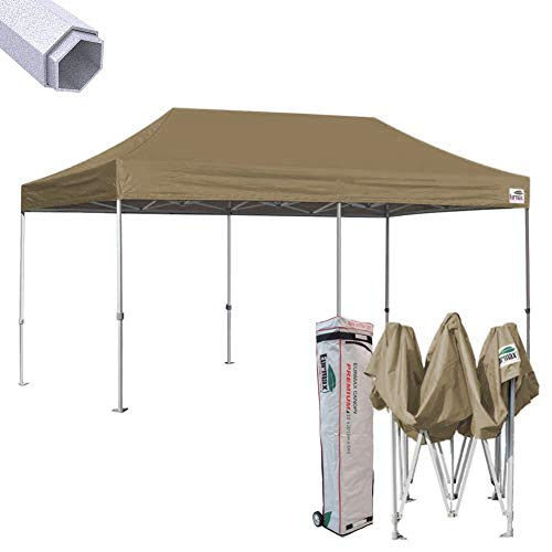 Eurmax Premium 10 x 20 EZ Pop up Canopy Tent Wedding Party Canopies Gazebo Shade Shelter Commercial Grade with Wheeled Bag (Kelly Green)